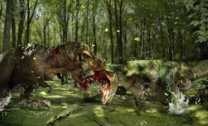 Tyrannosaurus_Rex_bites_the_head_of_the_Giganotosaurus